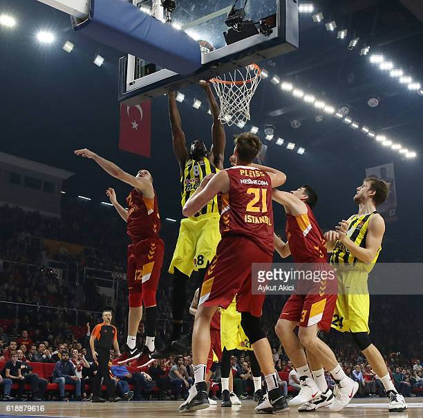 Ekpe Udoh #8 of Fenerbahce Istanbul competes with Tibor Pleiss #21 of Galatasaray Odeabank Istanbul during the 2016/2017 Turkish Airlines EuroLeague...