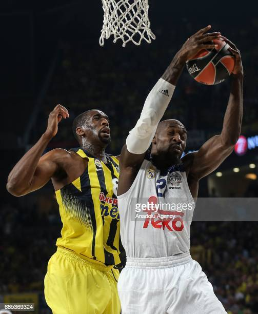 Ekpe Udoh of Fenerbahce in action against Othello Hunter of Real Madrid during the Turkish Airlines Euroleague Final Four basketball match between...