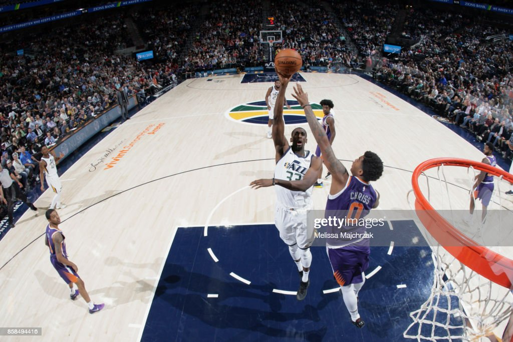 Ekpe Udoh #33 of the Utah Jazz goes to the basket against the Phoenix Suns on October 6, 2017 at vivint.SmartHome Arena in Salt Lake City, Utah.