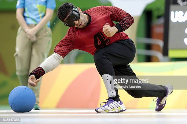 Ekrem Gundogdu of Turkey in action during Goalball - Men's Preliminary - Group B match between United States and Turkey at Future Arena on day 5 of...