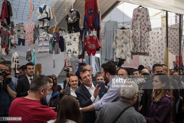 Ekrem Imamoglu CHP Party candidate for mayor of Istanbul speaks to supporters at a local market during campaigning in the rerun of the Istanbul...