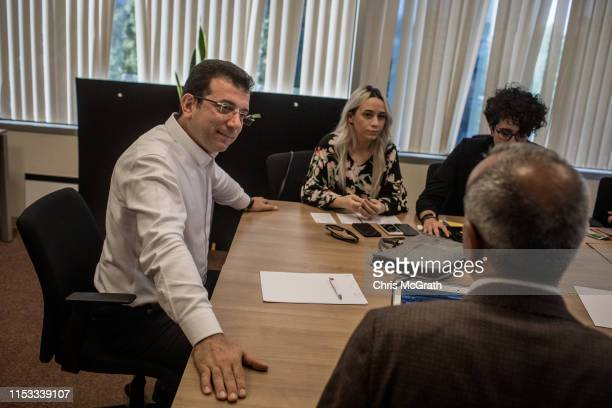 Ekrem Imamoglu CHP Party candidate for mayor of Istanbul talks with staff members during a meeting at his campaign offices in the rerun of the...