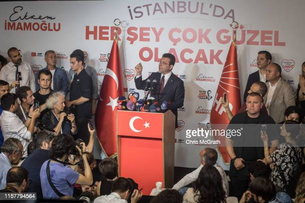 Ekrem Imamoglu of the Republican People's Party gives a victory speech after winning the Istanbul Mayoral rerun election on June 23 2019 in Istanbul...
