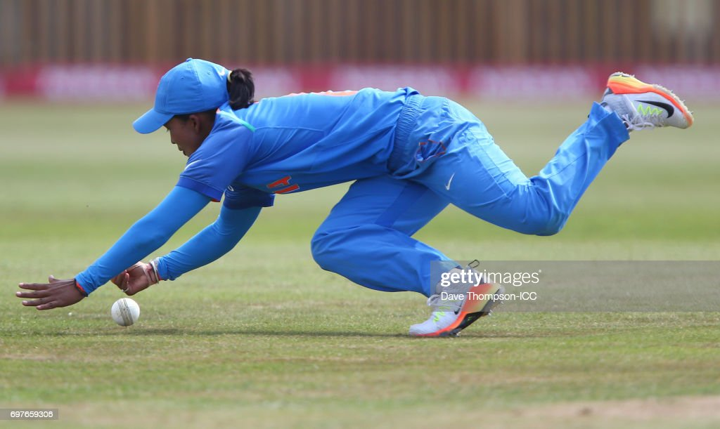 Ekta Bisht of India drops a catch during the ICC Women's World Cup warm up match between India and New Zealand at The County Ground on June 19, 2017 in Derby, England.