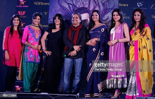 Ekta Kapoor and Vishal Bhardwaj with TV actors Kritika Kamra Pooja Gor Shweta Tiwari Aamna Sharif and Mouli Ganguly during the launch of new tele...