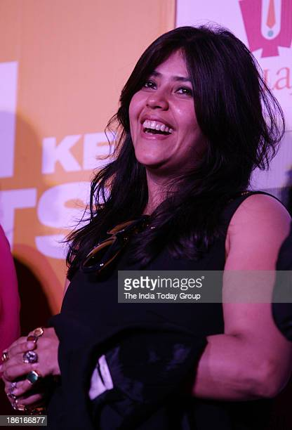 Ekta Kapoor during the first trailer launch of the movie Shaadi Ke Side Effects in Mumbai
