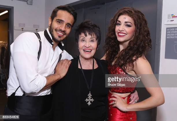 Ektor Rivera as 'Emilio Estefan' Chita Rivera and Ana Villafane as 'Gloria Estefan' pose backstage at the hit musical 'On Your Feet The Gloria...