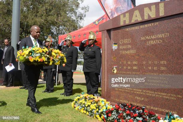 Ekurhuleni Mayor Mzwandile Masinaat the wreath laying ceremony during the 25 year anniversary commemorating Chris Hanis death on April 10 2018 in...