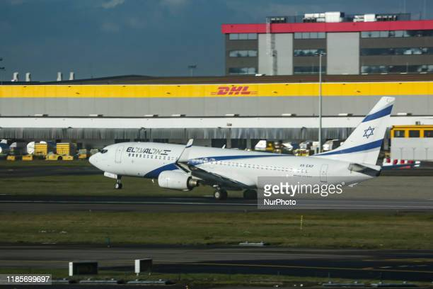 El Al Israel Airlines Boeing 737-800 NG aircraft as seen during rotation on a take off departure from Brussels Zaventem International Airport in...
