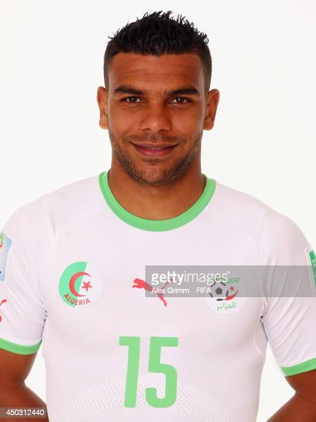 El Arabi Soudani of Algeria poses during the official FIFA World Cup 2014 portrait session on June 8 2014 in Sao Paulo Brazil