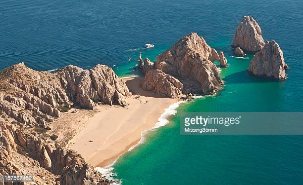 el arco and lover's beach aerial view - sea of cortez stock pictures, royalty-free photos & images