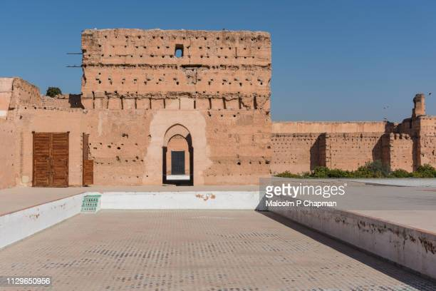 el badi (badii) palace, marrakesh, morocco - old ruin stock photos and pictures