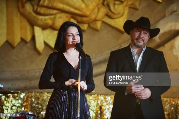 """El Beso de Judas"""" Episode 204 -- Pictured: Veronica Falcon as Camila, Julio Cedillo as Roan --"""