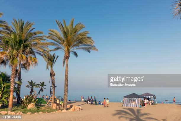 El Bombo beach, La Cala de Mijas, Costa del Sol, Malaga Province, Andalusia, southern Spain.
