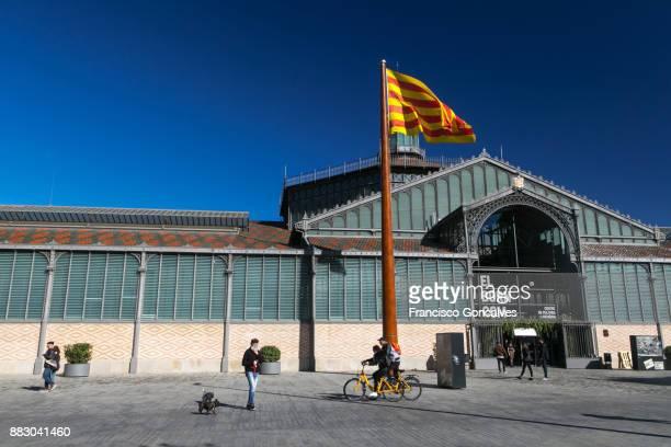 el born centre de cultura i memòria - flagpole sitting stock photos and pictures