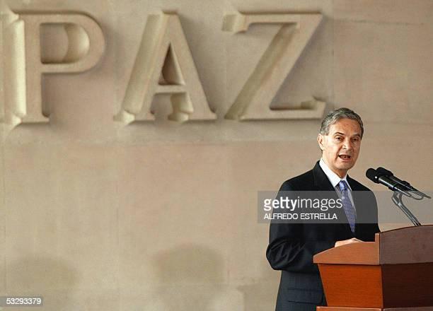 El canciller de Mexico Luis Ernesto Derbez ofrece un discurso durante la ceremonia de inauguracion del Congreso Internacional para Apoyar la...