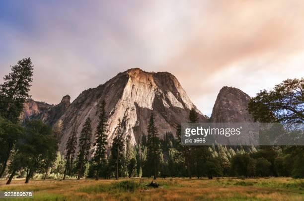 El Capitan in Yosemite colored by a wildfire