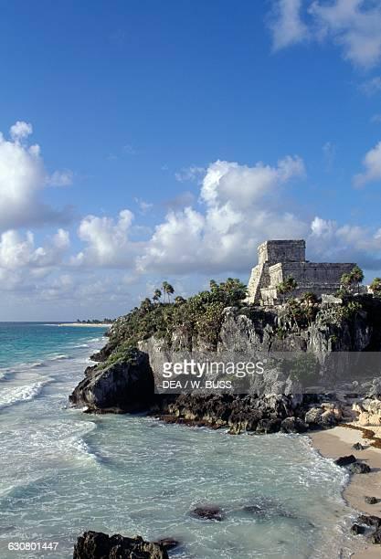 El Castillo and Caleta beach Tulum Quintana Roo Mexico Maya civilisation 6th century