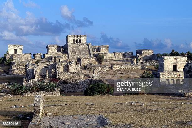 El Castillo and the Temple of the Frescoes Tulum Quintana Roo Mexico Maya civilisation
