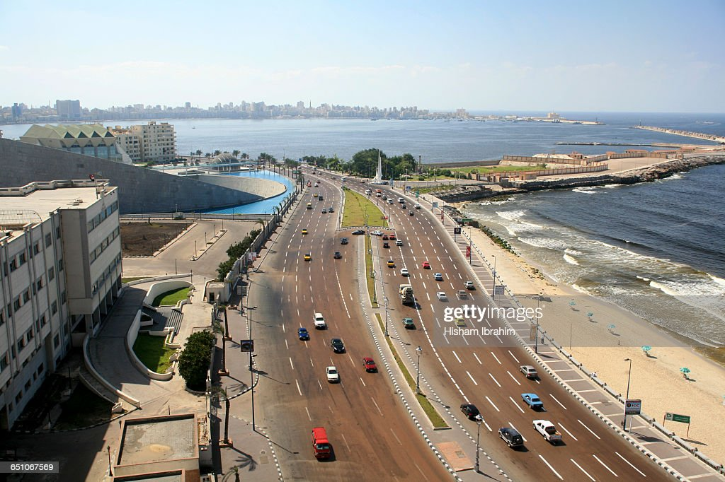 El Corniche and city beach-Alexandria, Egypt : Stock Photo