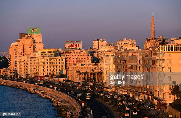 el corniche waterfront on east side, alexandria, egypt - alexandria stock pictures, royalty-free photos & images