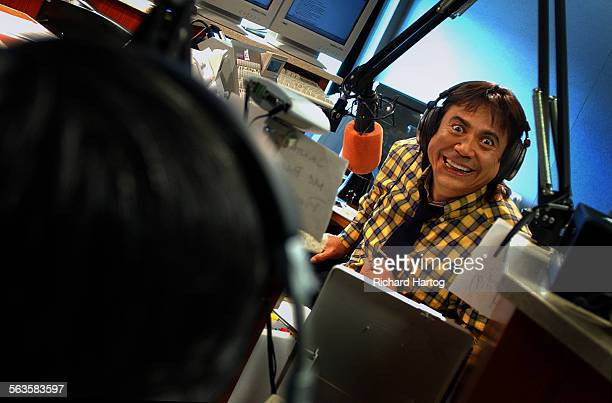 El Cucuy The Boogeyman the radio personality whose ratings top Howard Stern's in the morning in LA is photographed in action at KSCA 1019 fm Monday...