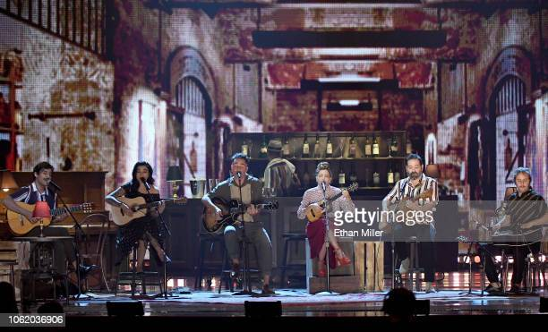 El David Aguilar Mon Laferte Jorge Drexler and Natalia Lafourcade perform onstage during the 19th annual Latin GRAMMY Awards at MGM Grand Garden...