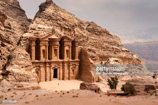 el deir -  the monastery, petra, jordan. - jordan middle east stock pictures, royalty-free photos & images
