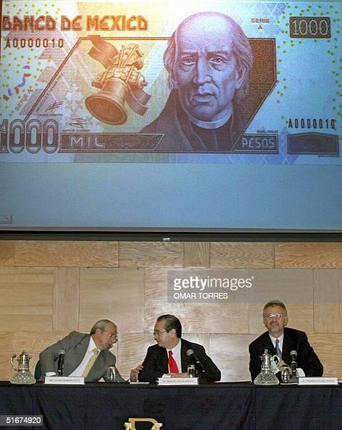 El director de Programacion del Departamento de Emision del Banco de Mexico Dr Manuel Galan junto al Ing Javier Barron y el Licenciando Federico...