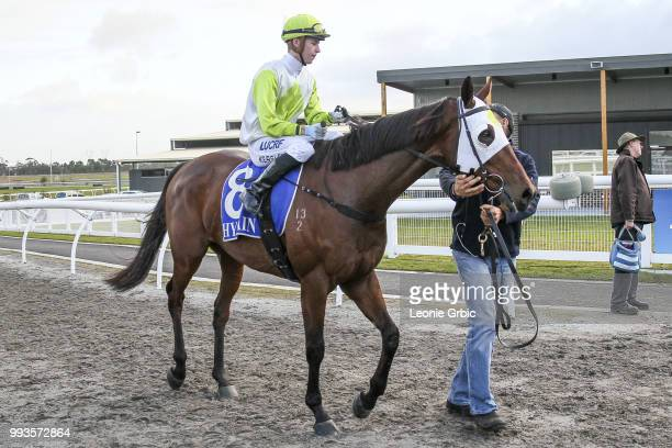 El Don ridden by Fred Kersley returns after winning the Christmas In July Winter Challenge Synthetic Stayers Series Heat 3 at Racingcom Park...