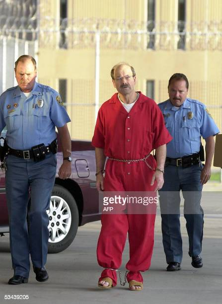 Dennis L Rader the man admitting to be the BTK serial killer is escorted into the El Dorado Correctional Facility on 19 August 2005 in El Dorado...