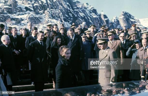 El Escorial Valle de los Caidos Spain The princes of Spain Juan Carlos and Sofia in the burial of Francisco Franco along with Cristobal Martinez...