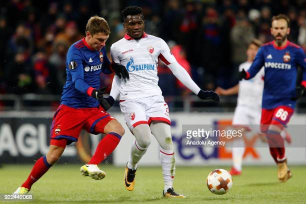El Fardou Ben Mohamed of Crvena Zvezda in action against Kirill Nababkin of CSKA Moscow during the UEFA Europa League round of 32 second leg soccer...