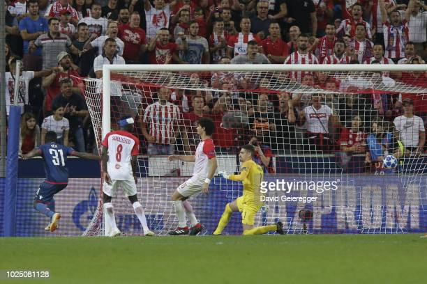 El Fardou Ben Nabouhane of Belgrade scores the first goal of his team during the UEFA Champions League match between FC Salzburg and Red Star...