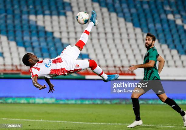El Fardou Ben Nabouhane of Crvena Zvezda attempts an overhead kick during the UEFA Champions League: First Qualifying Round match between Crvena...