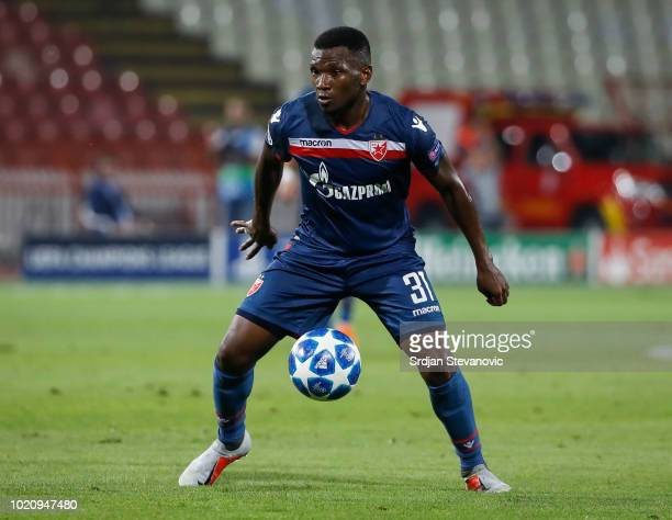 El Fardou Ben Nabouhane of Crvena Zvezda in action during the UEFA Champions League Play Off First Leg match between FK Crvema Zvezda and FC Red Bull...