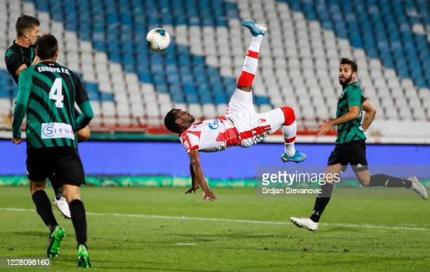 El Fardou Ben Nabouhane of Crvena Zvezda in action during the UEFA Champions League First Qualifying Round match between Crvena Zvezda v Europa FC at...