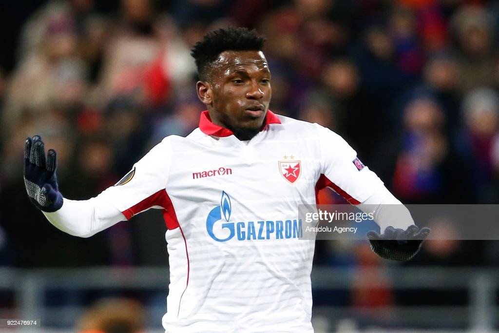 El Fardou Ben Nabouhane of Crvena Zvezda is seen during the UEFA Europa League round of 32, second leg soccer match between CSKA Moscow and Crvena Zvezda at the Stadium CSKA Moscow in Moscow, Russia on February 21, 2018.