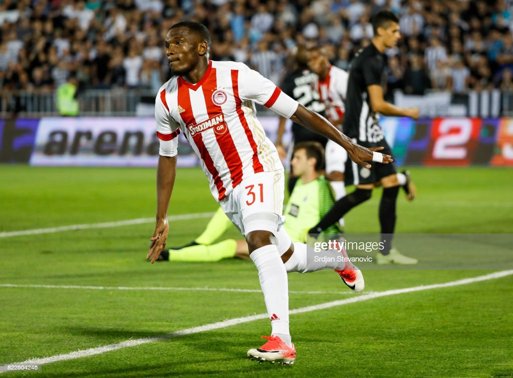 El Fardou Ben Nabouhane of Olympiacos celebrates scoring the goal during the UEFA Champions League Qualifying match between FC Partizan and Olympiacos on July 25, 2017 in Belgrade, Serbia.