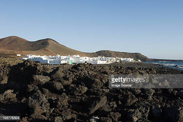 el golfo and black lava field, lanzarote - lava plain stock pictures, royalty-free photos & images
