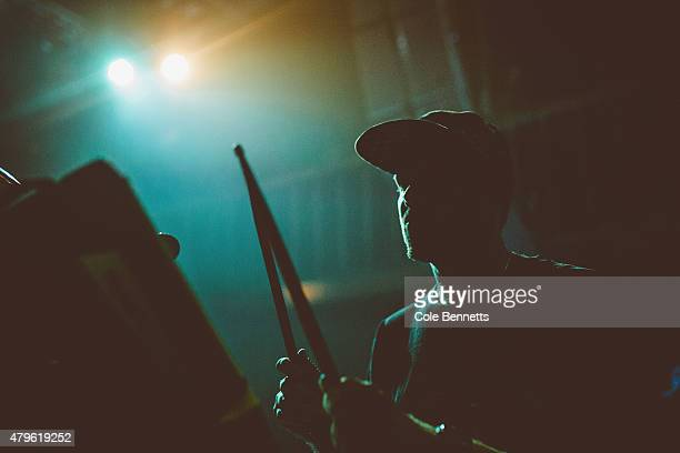 El Gusto plays the drum pads at The Met during a sold out show on June 27 2015 in Brisbane Australia Hermitude consisting El Gusto and Luke Dubs sold...