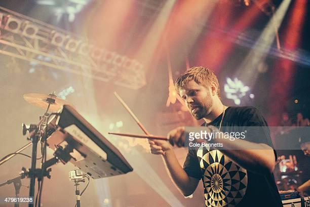 El Gusto plays the drum pads at The Metropolitan during the Hermitude Dark Light Sweet Light Album Tour on June 13 2015 in Fremantle Australia...