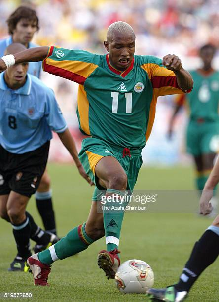 El Hadji Diouf of Senegal in action during the FIFA World Cup Korea/Japan Group A match between Senegal and Uruguay at the Suwon World Cup Stadium on...
