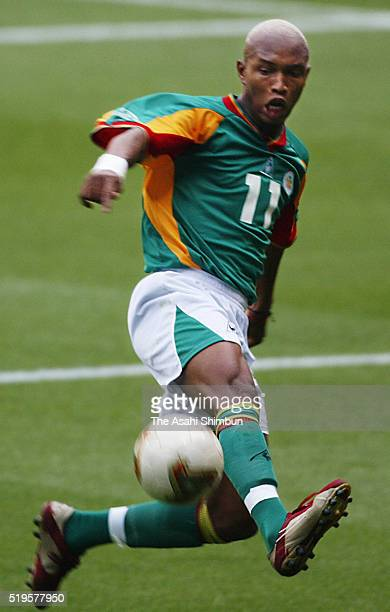 El Hadji Diouf of Senegal in action during the FIFA World Cup Korea/Japan Round of 16 match between Sweden and Senegal at the Oita Big Eye Stadium on...