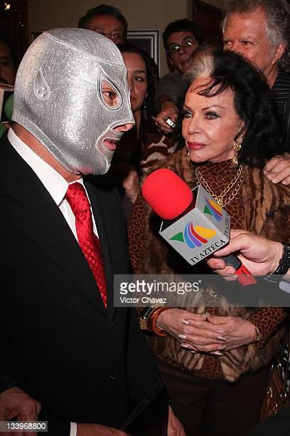 "El Hijo Del Santo and actress Yolanda Montes ""Tongolele"" attends ""El Santo 25th Anniversary"" Mexico postal service stamps first day issue..."