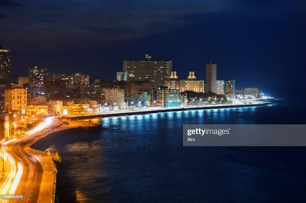 El Malecon, at Night, Havana, Cuba : Stock Photo