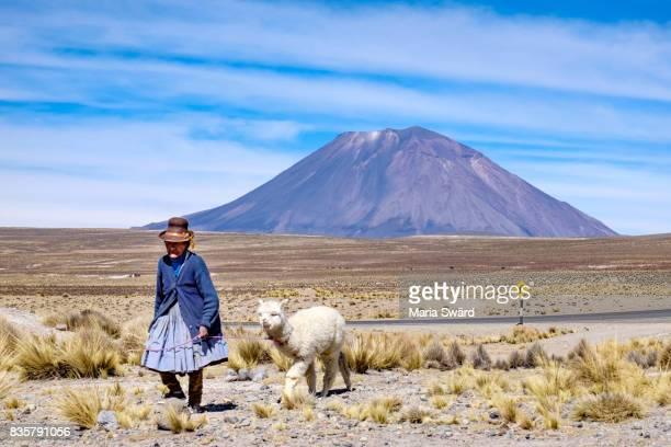 El Misto Volcano - Old woman with llama