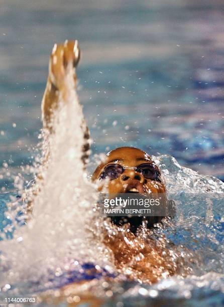 El nadador de Barbados Alfred Neckles compite en la categoria 100 metros espalda en la que obtiene la medalla de oro en Cartagena Colombia el 21 de...