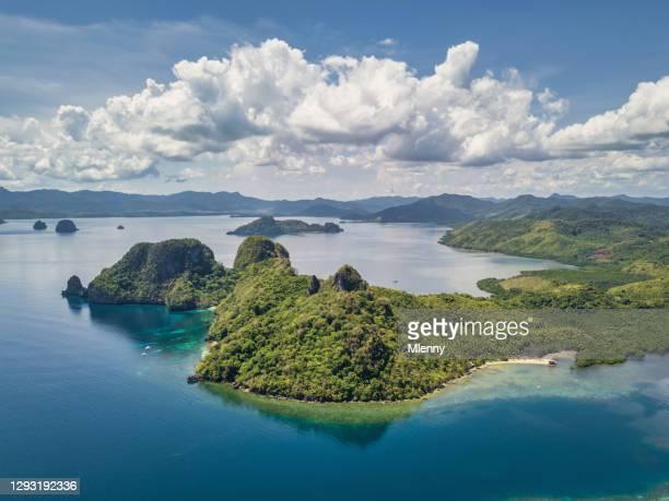 el nido pagauanen vigan island coastal view palawan islands philippines - idyllic stock pictures, royalty-free photos & images