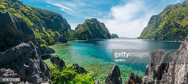 el nido, philippines - landschap stockfoto's en -beelden